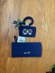 Vera Bradley Trifold Wallet, Zip Id Case And Lanyard Lapis Lot Of 3 Nwt