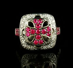 Levian Natural 1.34ctw Ruby And Diamond Solid 18k White Gold Shield Cross Ring