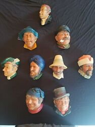 Bossons Chalkware Heads England Wall Mountable Used Lot Of 9 Collectible