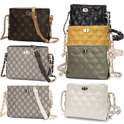 Fashion Quilted Small Crossbody Chain Bag Women Messenger Purse PU Shoulder Bag $13.79