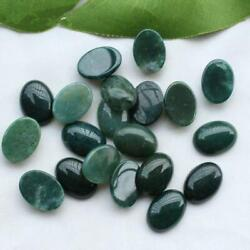 Aaa Quality Natural Loose Gemstones Green Moss Agate Oval Cab 12x16mm To 15x20mm