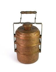 Vintage Copper Handcrafted Three Compartments Lunch Box Kitchen Decor G66-768 Us