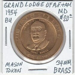 Masonic Token - Grand Lodge Of Af And Am Of Maryland - Bu - 1954 - 34 Mm Brass