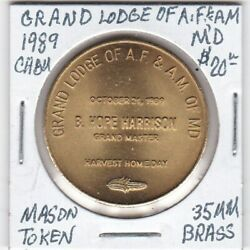 Masonic Token - Grand Lodge Of Af And Am Of Maryland - Ch Bu - 1989 - 34 Mm Brass