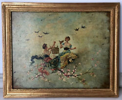 19th Century French Oil Impressionist Painting The Released Birds Chaplin
