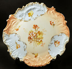 M. Redon Limoges France 1890-1896 Hand Painted Ornate Floral Plate W/ Gold Trim