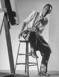 Old Photo Painter Wilfredo Lam Seated At His Easel