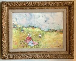 French Oil Impressionist Painting Young Women In A Poppy Landscape Rene Sinicki