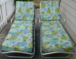 2 Vintage Aluminum Chaise Lounge Chairs With Original Cushions