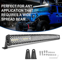 54 Curved Led Work Light Bar Quad Tri Row Spot Flood Combo Driving Off Road 4wd