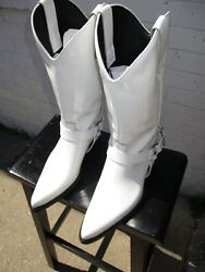 Calvin Klein 205w39nyc Tammy White Patent Leather Cowgirl Boots Sz9
