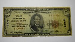 5 1929 Soldiers Grove Wisconsin Wi National Currency Bank Note Bill Ch. 13308