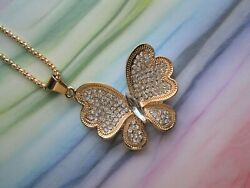 Betsey Johnson Golden Butterfly Pendant Chain Necklace White Crystals Jewelry