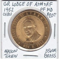 Masonic Penny - Grand Lodge Of Af And Am Of Maryland - 1952 Ch Bu - 35 Mm Brass