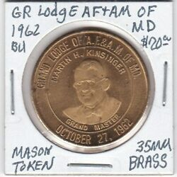Masonic Penny - Grand Lodge Of Af And Am Of Maryland - 1962 Bu - 35 Mm Brass