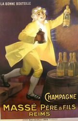 Champagne Poster Large Chromolithograph Ca. 1920, 111 X 71 Cm. Excellent Cond.