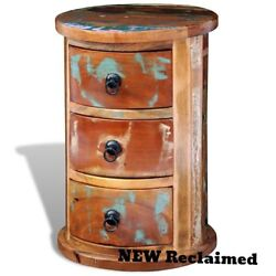 Antique Storage Cabinet Wood Curved 3 Drawers Display Home Country Furniture NEW