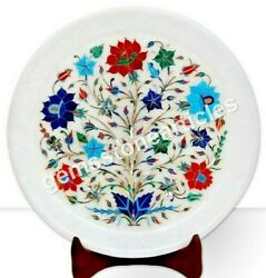 11 Real Lapis Semi Precious Work Inlaid Floral Plate Collectible Marquetry Gift