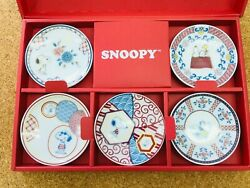 Peanuts Snoopy Dish Plate Five Sets Made In Japan Sn720-127 White 9cm