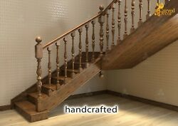 Architectural Wood Stair Newel Post Design - Wooden Stair Parts Set Of 2