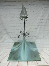 Antique Copper Roof Cupola W/ Sailboat Weathervane Architectural Salvage 5' X 2'