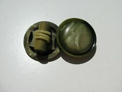 Antique Vintage 3d Art Deco Moon Glow Olive Green Celluloid Sterling Brooch Pin