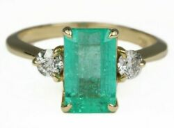 2.60tcw Three Stone Colombian Emerald And Diamond Engagement Ring 14k