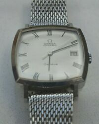 Vintage Omega Geneve Automatic, Square Stainless Mens Wristwatch Mesh Band
