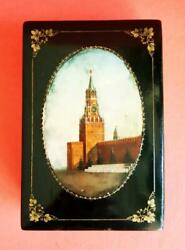 Vintage Russian Ethnic Soviet Ussr Wooden Lacquer Box Kremlin Moscow