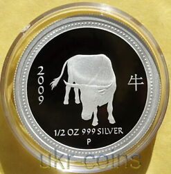 2009 Australia 1/2 Oz Year Of The Ox 50cent Silver Proof Coin Lunar I Perth Mint