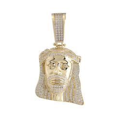 Hallmarked 9ct Gold Iced Out Cz Jesus Head Pendant - Rrp Andpound670 Tp36 0 Finance