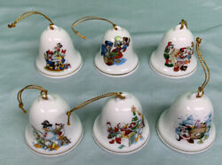 6 Grolier Collectibles Disney Christmas Bell Ornament Donald Duck, Mickey Mouse