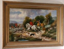 Troy Berke Original Oil Painting Hunters On Horses With Dogs