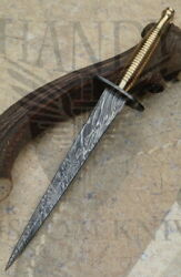 Custom Made Hand Forged Damascus Steel Boot Dagger Knife With Brass Handle