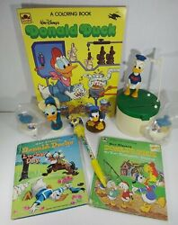 Disney's Donald Duck Vtg Collectibles Lot W/ Bank, Books, Candy Pen And Figures