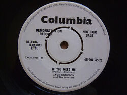 Dave Sampson and the Hunters - If You Need Me - 1960 UK Promo - Hear it