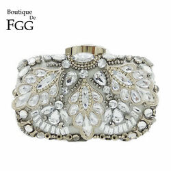 Vintage Women Silver Beaded Clutch Evening Bags Bridal Formal Dinner Handbags $19.99