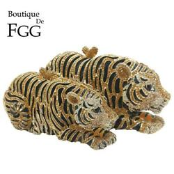 Women Tiger Clutch Minaudiere Evening Bags Diamond Wedding Handbag Bridal Purse $69.99