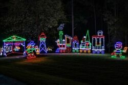 Large Christmas Train Santa's Station Outdoor LED Lighted Decoration Wireframe