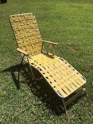 Vintage Aluminum Webbed Folding Beach Lawn Chair Chaise Lounge Yellow