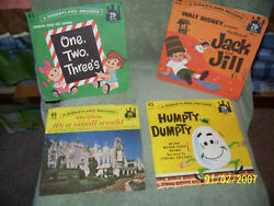 Lot Of [4} Childern's 45 Rpm Records Disney Land {nursery Rhymes And Educationa
