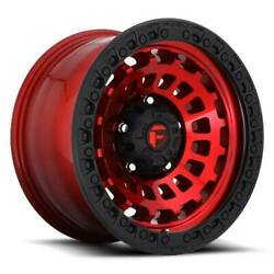 20x10 D632 Fuel Zephyr Candy Red W/black Ring Wheel 8x180 -18mm Set Of 4
