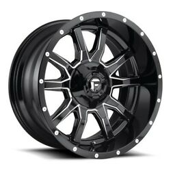 20x12 D627 Fuel Vandal Gloss Black And Milled Wheels 8x6.5 -43mm Set Of 4