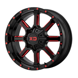 22x10 Xd Series Xd838 Blk Milled W/red Tint Wheels 8x180 12mm Set Of 4