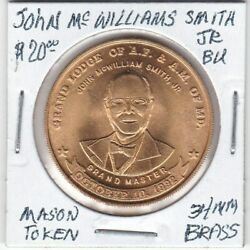 Masonic Token - John M. Smith - Grand Lodge Of Af And Am Of Md - Bu - 34 Mm Brass