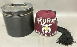 Vintage Shrinerand039s Murat Fez Hat With Leather Case Masonic Police Club Rare