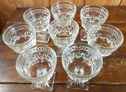 Set Of 8 Sherbet Dessert Glasses Imperial Glass Cape Cod Crystal Clear Dishes