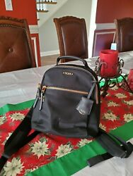 Tumi Voyageur Black Bag Backpack Nylon with Gold Hardware $99.00