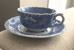 Vintage China Spodeand039s Camilla Copeland England Tea Cup And Saucer Blue Floral
