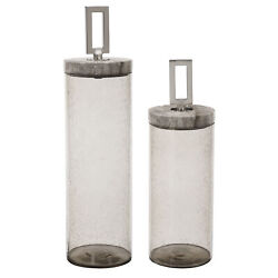 Elegant Gray Seeded Glass Decorative Jars Set 2 Cylinder Clear Marble Tall